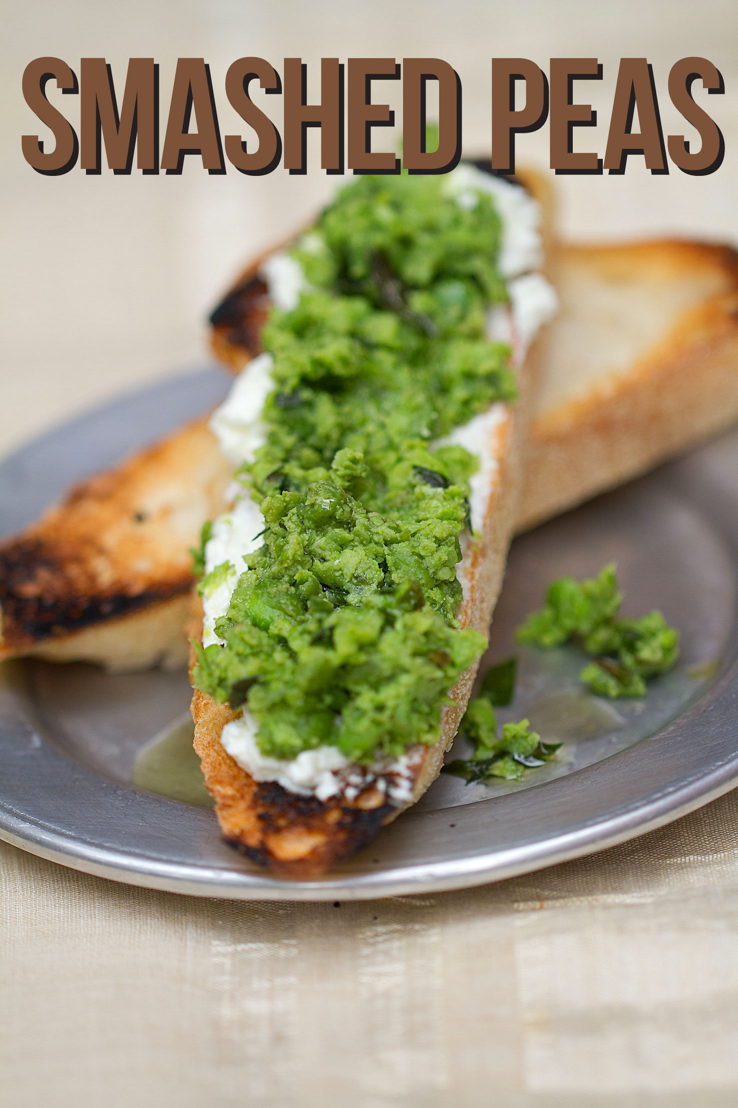 Smashed Peas and Whipped Goat Cheese on Toast