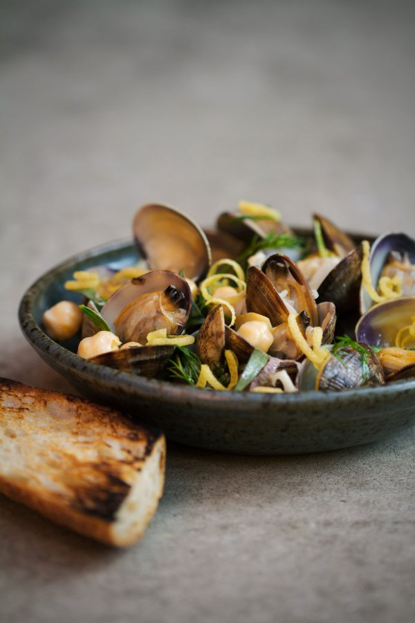 Steamed Clams with Chickpeas and Green Garlic