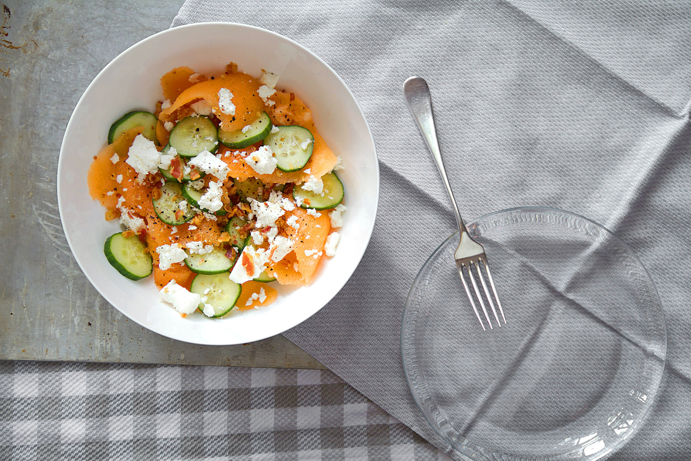 Cantaloupe Salad with Cucumber, Pancetta, and Feta