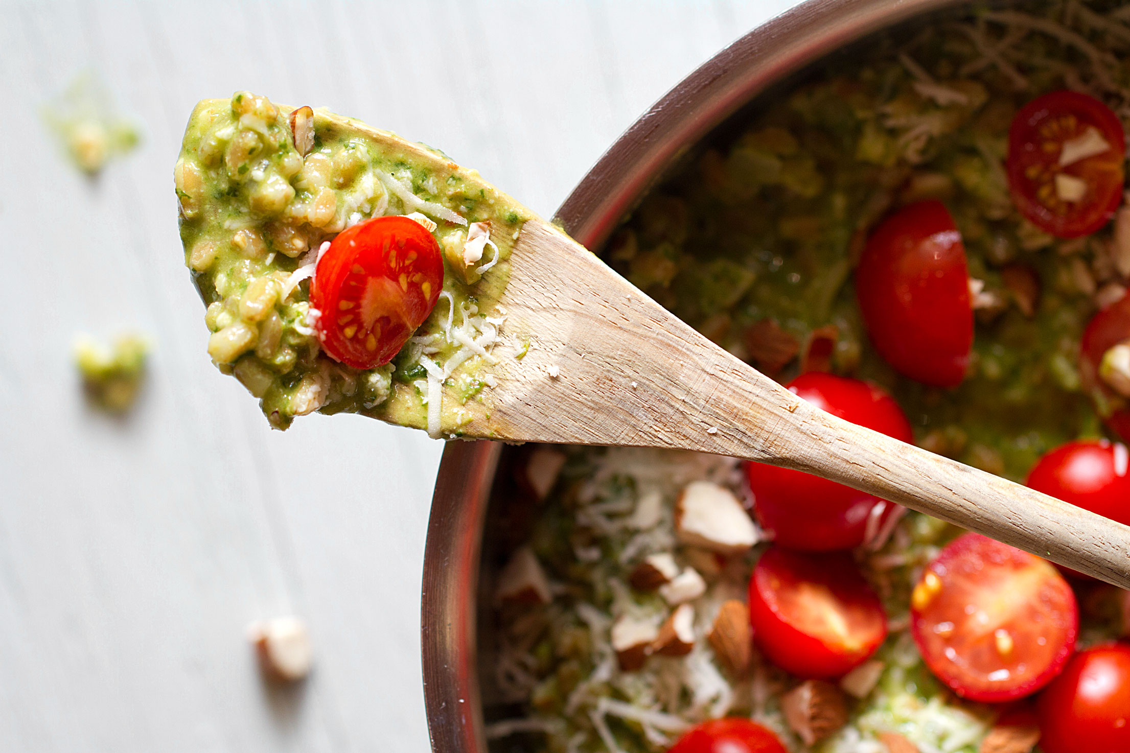 Farro Risotto with Spinach Pesto and Cherry Tomatoes