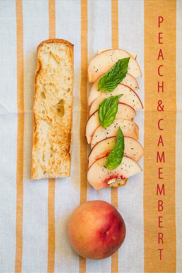Peach and Camembert Baguette with Basil and Black Pepper.