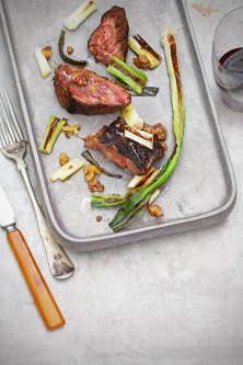 Paprika-Rubbed Hanger Steak with Charred Scallions