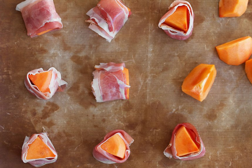 Grilled Persimmon Wrapped In Speck