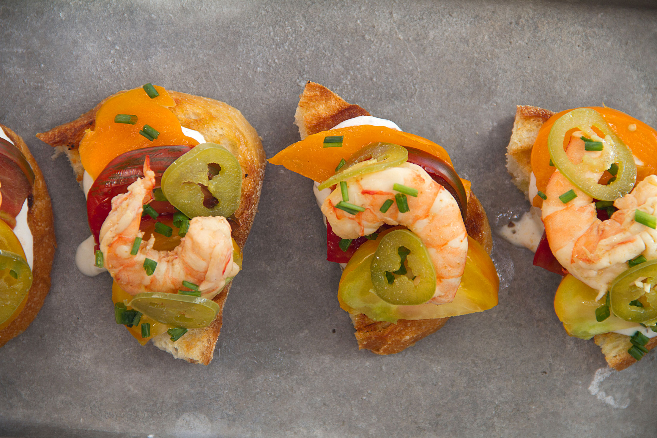 Pickled Shrimp Toasts