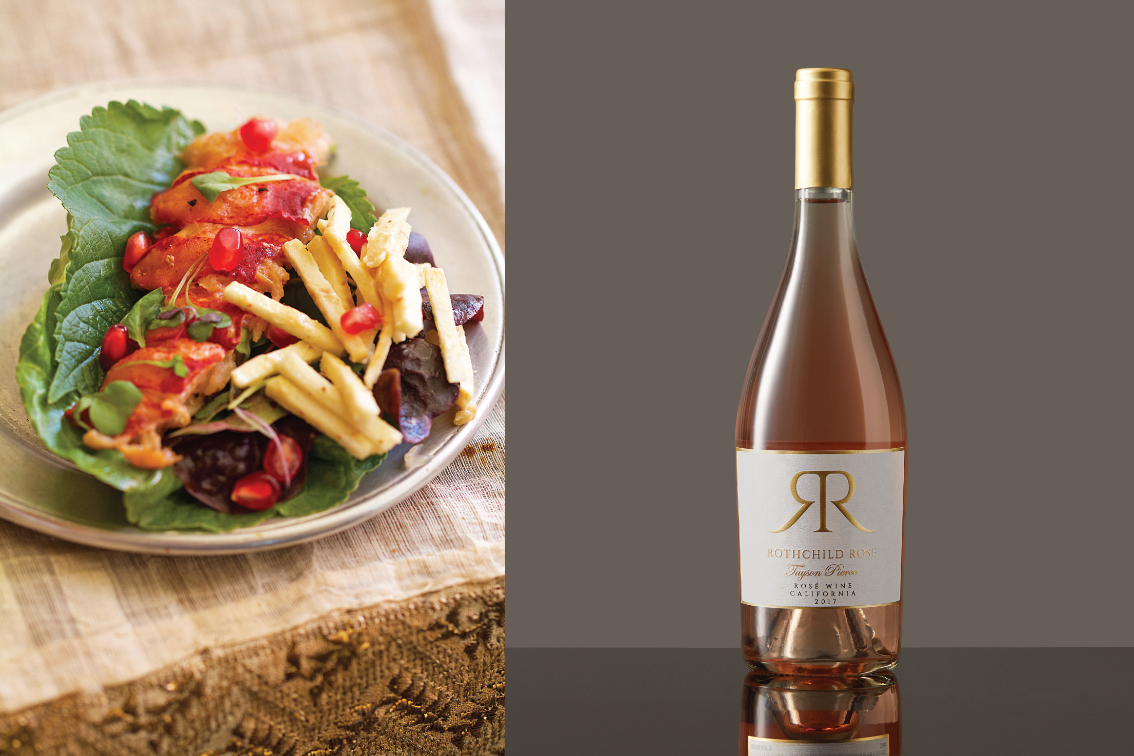 Tayson Pierce Rothchild Rosé paired with Grilled Lobster Lettuce Wraps with Sesame Remoulade and Pomegranate