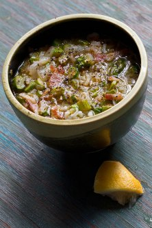 Asparagus and Rice Soup with Bacon and Black Pepper