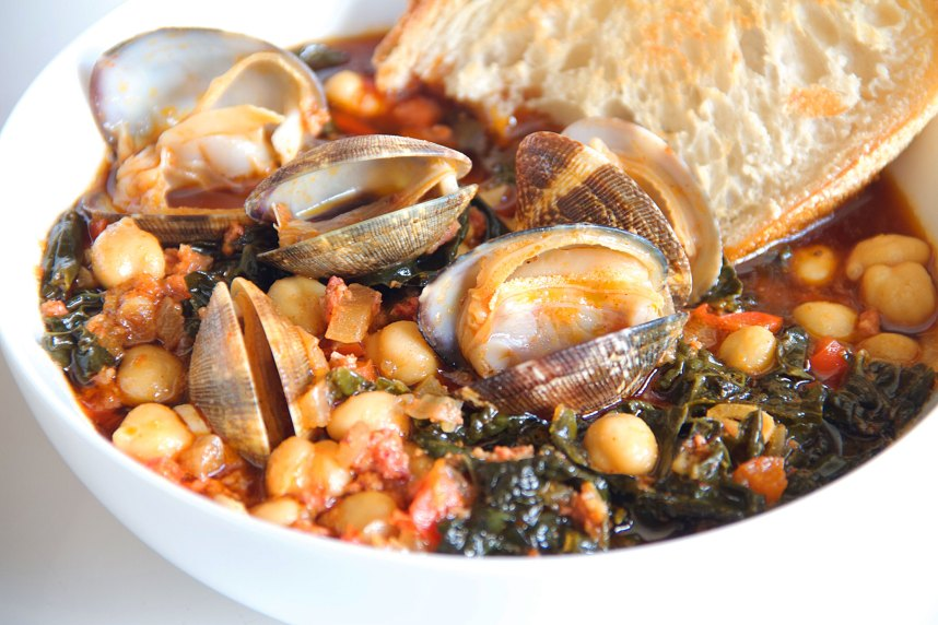 Chorizo and Clams with Nonchalant Braised Kale and Soffritto