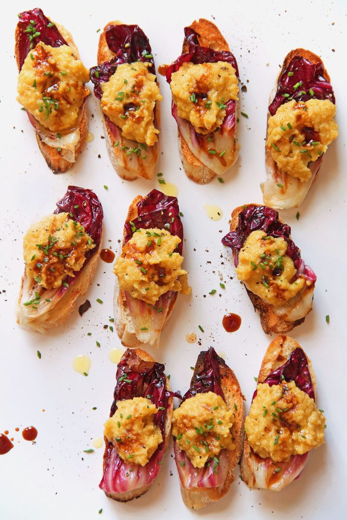 Grilled Radicchio Olive Oil-Poached  Mashed Chickpea Crostini