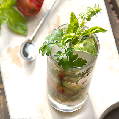 Leftover Herbs in a salad Bowl Gin and Tonic