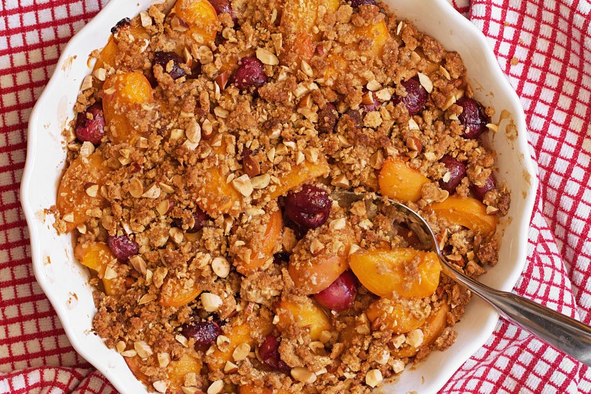 Apricot-Cherry Crumble with Graham Cracker Crust