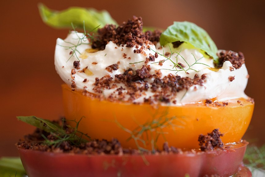 Burrata Caprese with Olive Streusel
