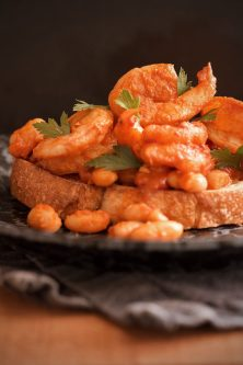 Harissa Shrimp and Beans on Toast