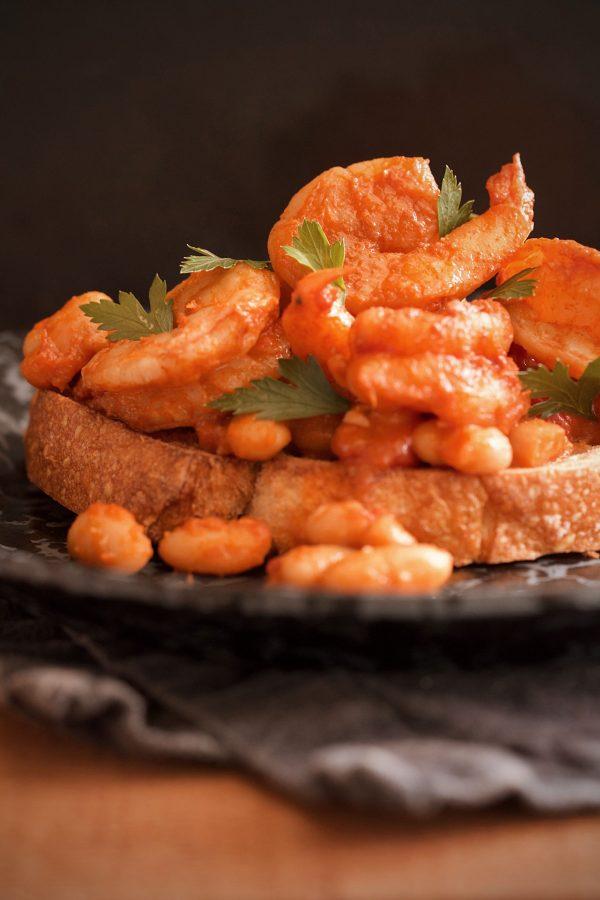 Harissa Shrimp and Beans on Toast
