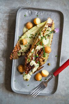 Grilled Treviso with Tonnato Sauce and Potatoes