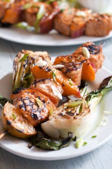 Pad Thai Salmon Skewers with Grilled Nectarines and Bok Choy