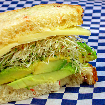 avocado and sprouts sandwich from Sippity Sup