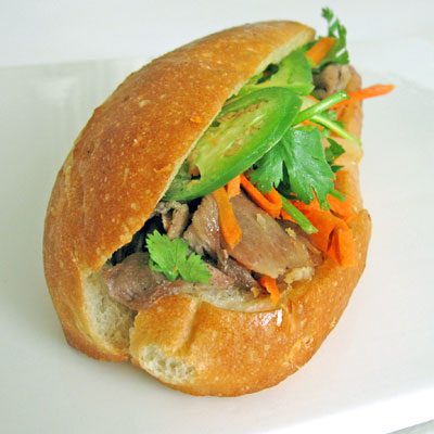 roasted pork bahn mi sandwich