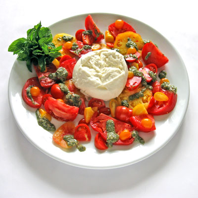 burrata salad with basil and tomatoes