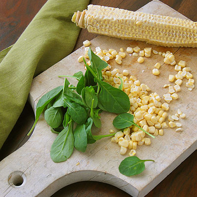 corn and arugula