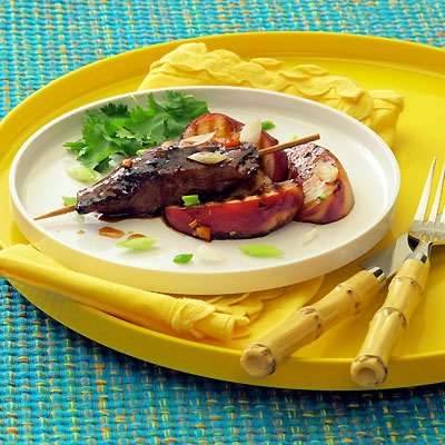 Peach & Ginger Glazed Duck Breast Satay with Grilled Peaches