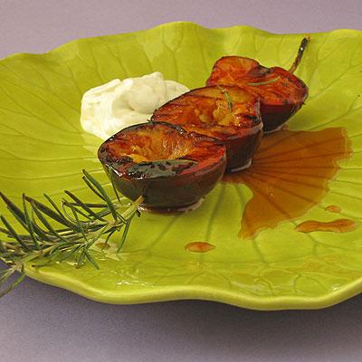 blasmaic glazed grilled plum skewers