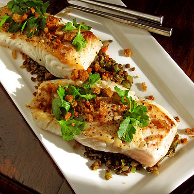 Pan-Roasted Halibut Lentils and Breadcrumbs