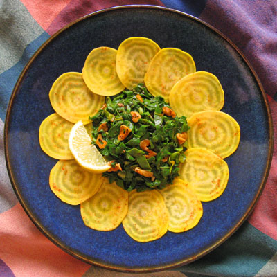 Beet Salad with Moroccan Spiced Greens