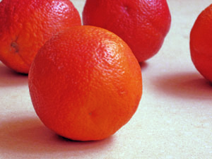 blood oranges on kitchen counter