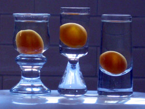 kumquat liqueur with blue light