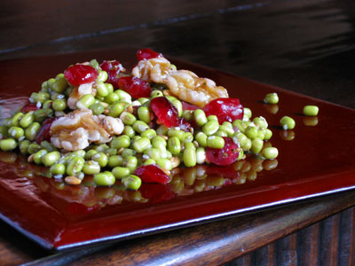mung bean salad with cranberries and walnuts