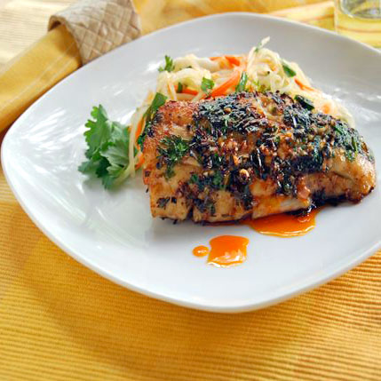 ginger, lemongrass & cilantro crusted snapper