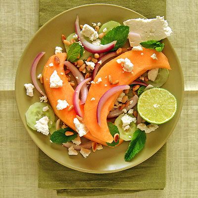 Melon Feta Salad with Cucumber & Mint