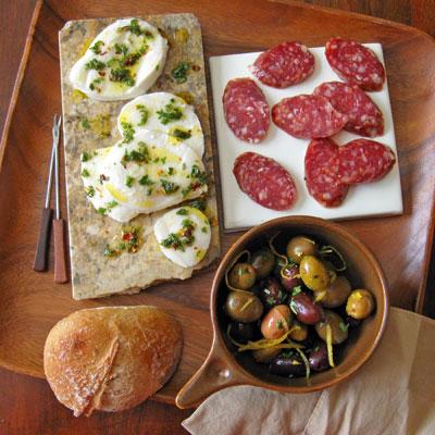 marinated mozzarella and olives