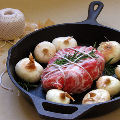 pancetta-wrapped pork roast loin chop