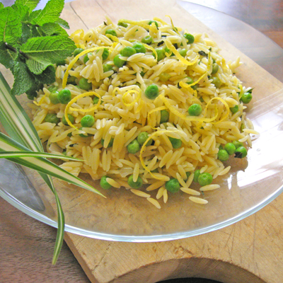orzo and peas with mint and lemon zest