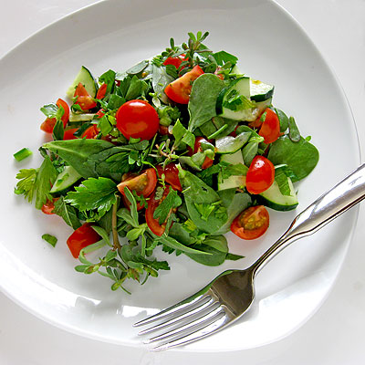 Puslane Salad with Cucumber and Tomato from Sippity Sup