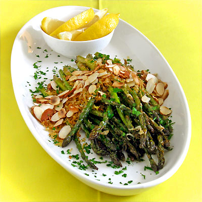 Roasted Asparagus with Garlic-Butter Breadcrumbs & Toasted Almonds