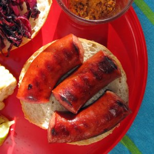 grilled sausages with grainy mustard