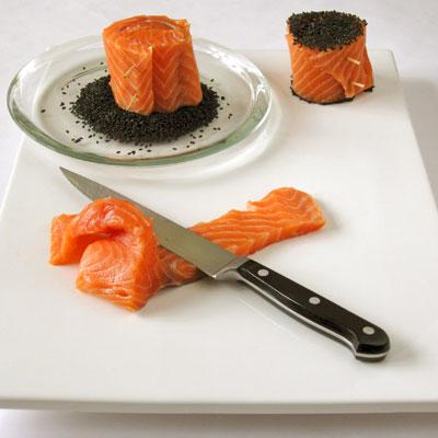 prepping salmon rolls