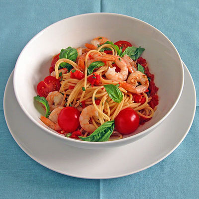 Two-Tomato Pasta with Basil & Spicy Shrimp