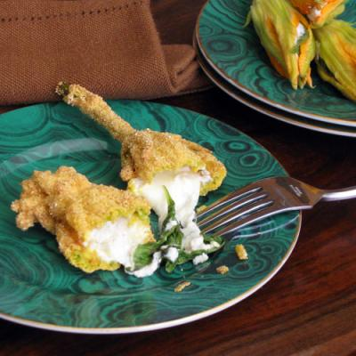squash blossoms with ricotta and basil