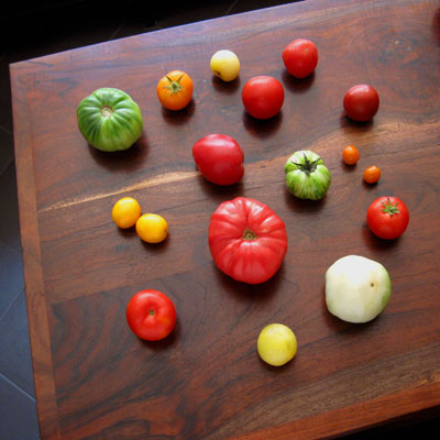 a collection of heirloom tomatoes