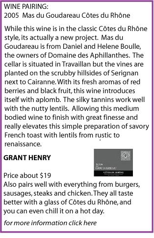 wine pairing grant henry cotes du rhone lentils