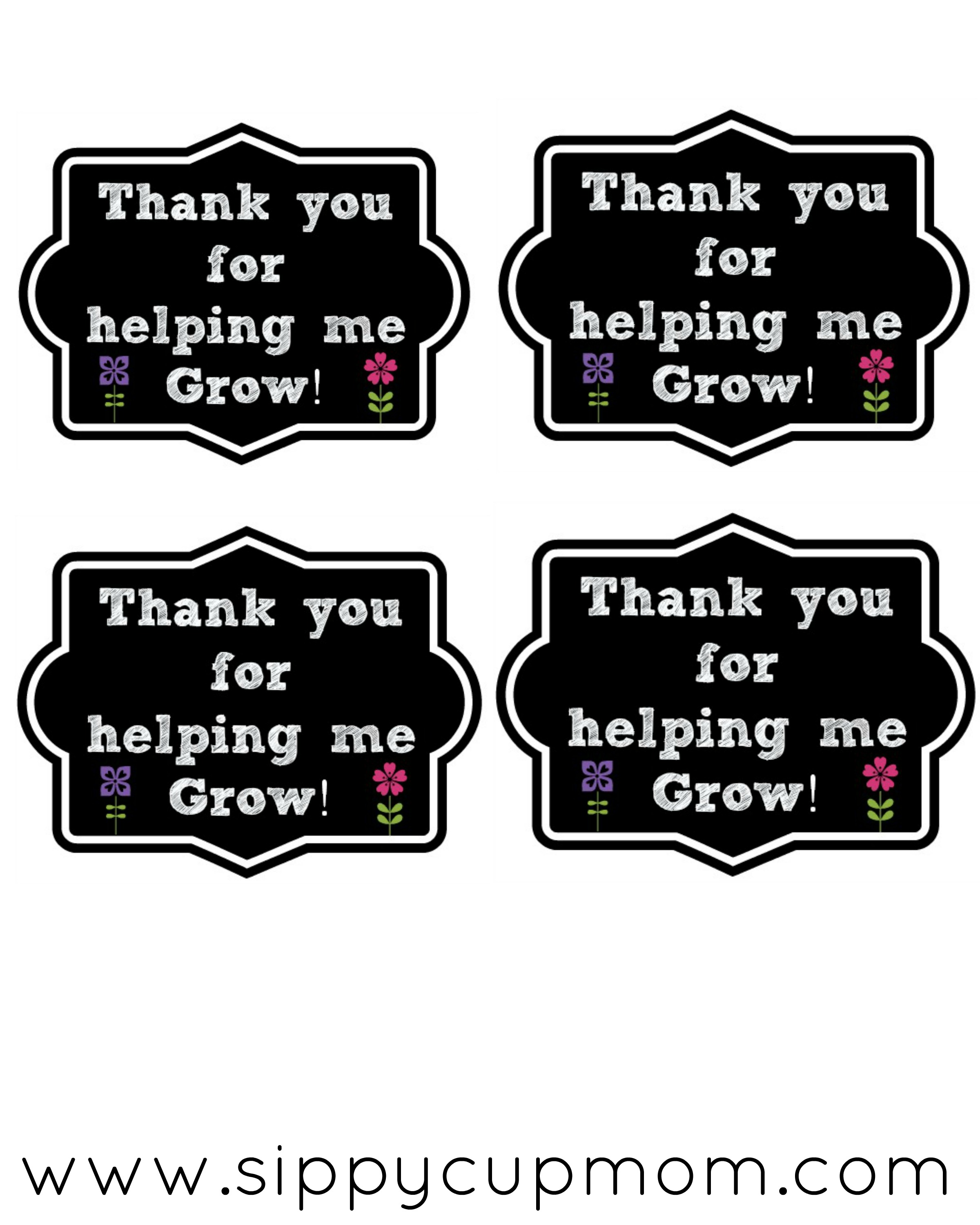 Thank You For Helping Me Grow Printable 40 Teacher