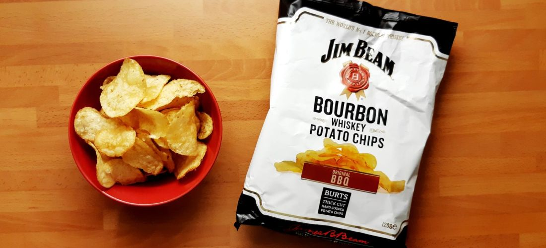 Burts Jim Beam Bourbon Whiskey Potato Chips Original BBQ