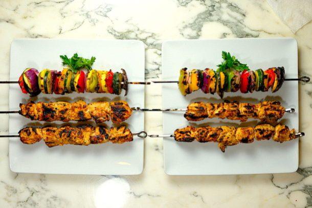 Grilled Veggie Skewers & Shish Tawook