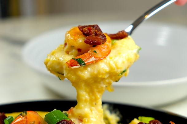 Shrimp, Grits and Mustard Greens