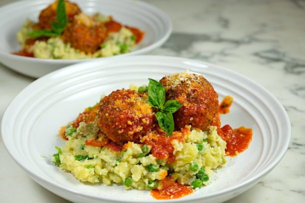Meatballs with Green Pea Smashed Potatoes