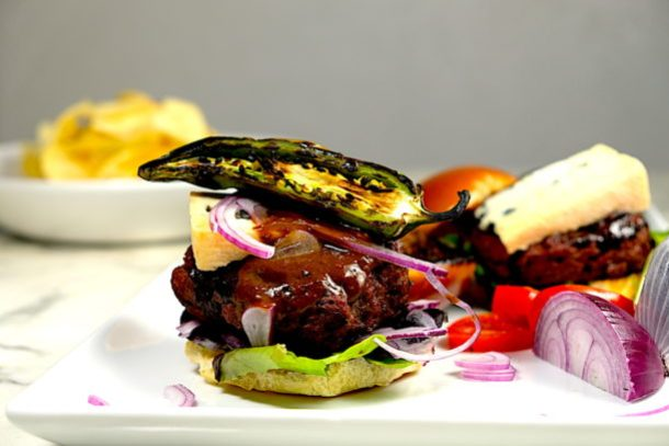 Bourbon Balsamic Bison Burger