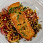 Seared Salmon with Sautéed Asparagus and Corn